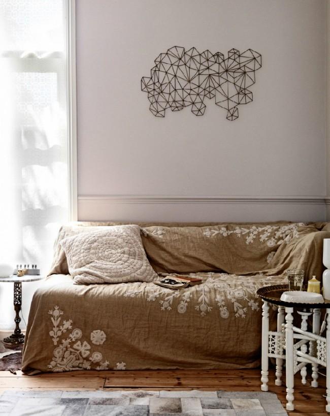 Couverture en lin pour canapé avec broderie à la main