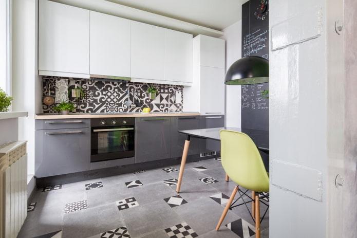 intérieur de cuisine dans des couleurs grises et blanches