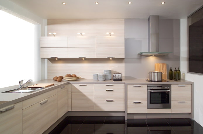 intérieur de cuisine dans des tons gris-beige