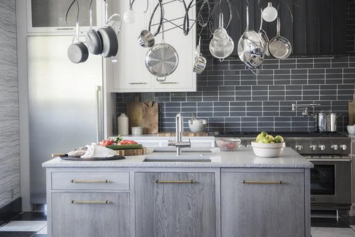intérieur de cuisine en monochrome