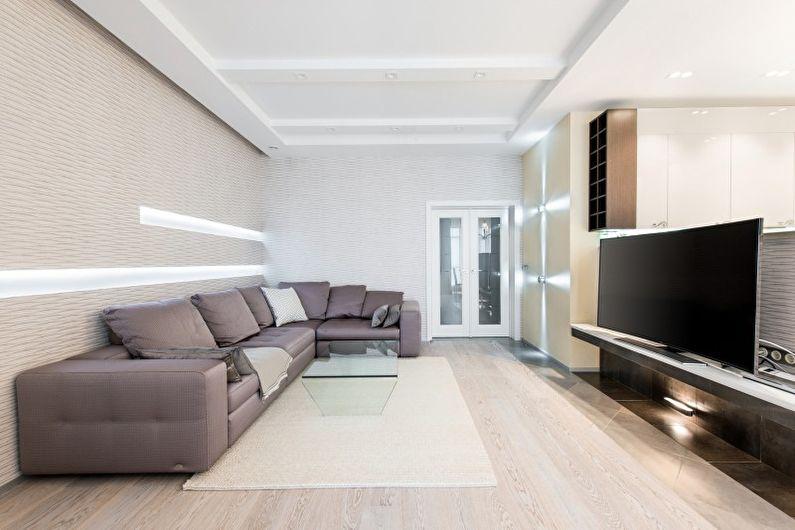 Salon - Conception d'un appartement dans le style du minimalisme
