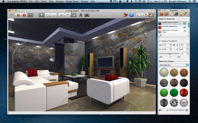 Habituellement, dans l'ensemble standard de textures de tout programme de planification, il existe tous les types de finitions populaires: pierre décorative, carreaux, stratifié de différentes couleurs.