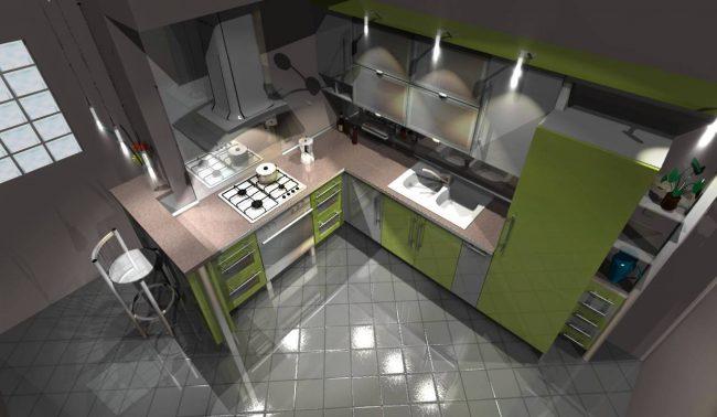 Logiciel de design d'intérieur.  Vue 3D enregistrée de la future cuisine dessinée dans Pro100