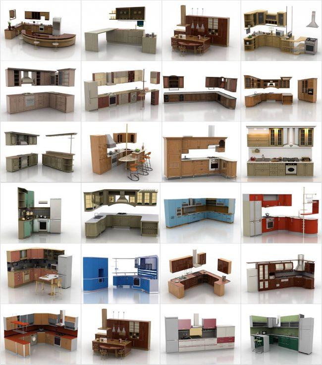 Un exemple du contenu d'une bibliothèque de meubles pour un programme de planification.  Sous cette forme, un certain nombre de fabricants distribuent des modèles 3D précis de meubles de leur production à partir de sites Web officiels.