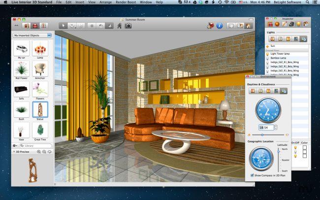 Live Interior 3D n'est pas gratuit, mais avec de larges fonctionnalités et disponible pour les débutants, un programme pour Mac