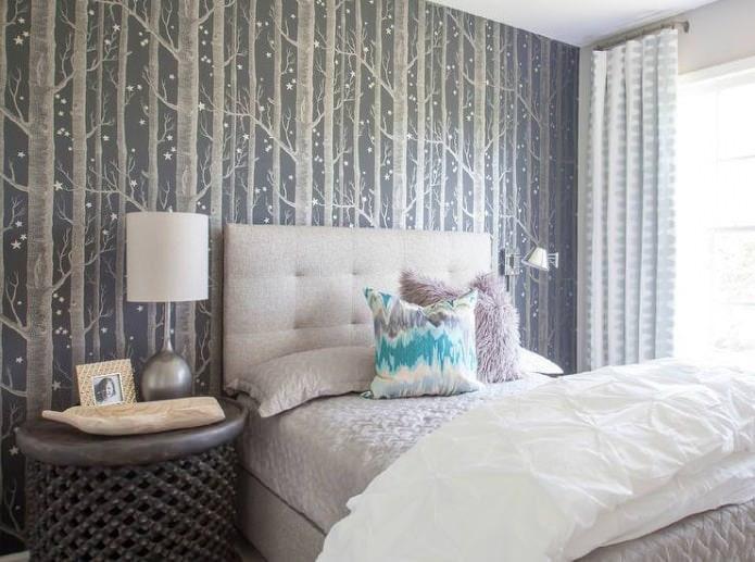 photomurals gris avec des arbres dans la conception de la chambre