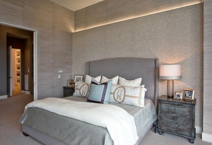 papier peint gris dans la conception de la chambre