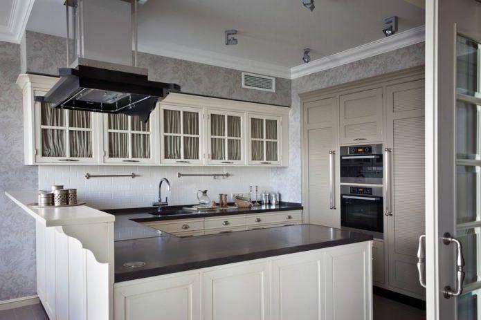 Papier peint gris à l'intérieur de la cuisine