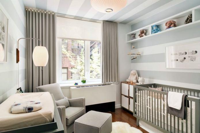 papier peint de couleur gris et blanc dans la chambre d'enfant pour un nouveau-né