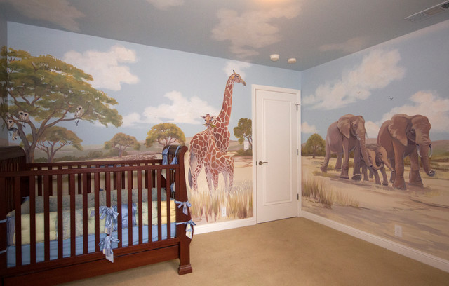 Murs avec l'image de la savane dans la chambre des enfants