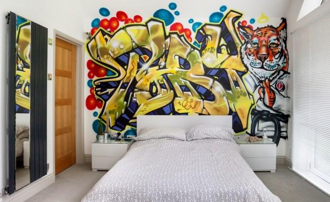 Mur d'accent avec des graffitis