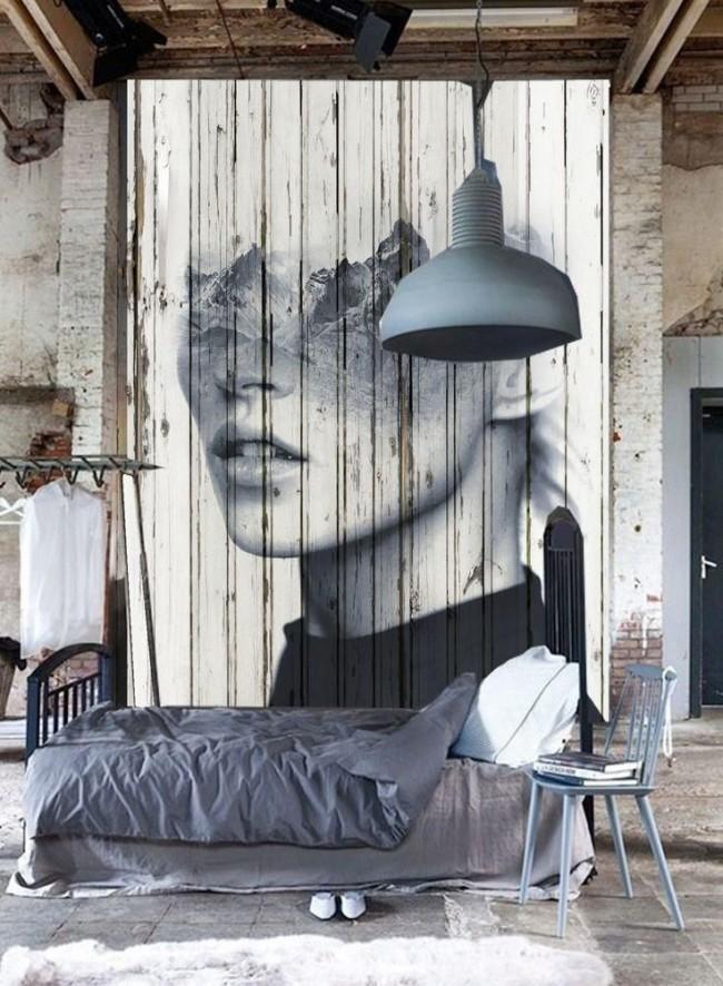 Peinture murale élégante sur un mur en bois