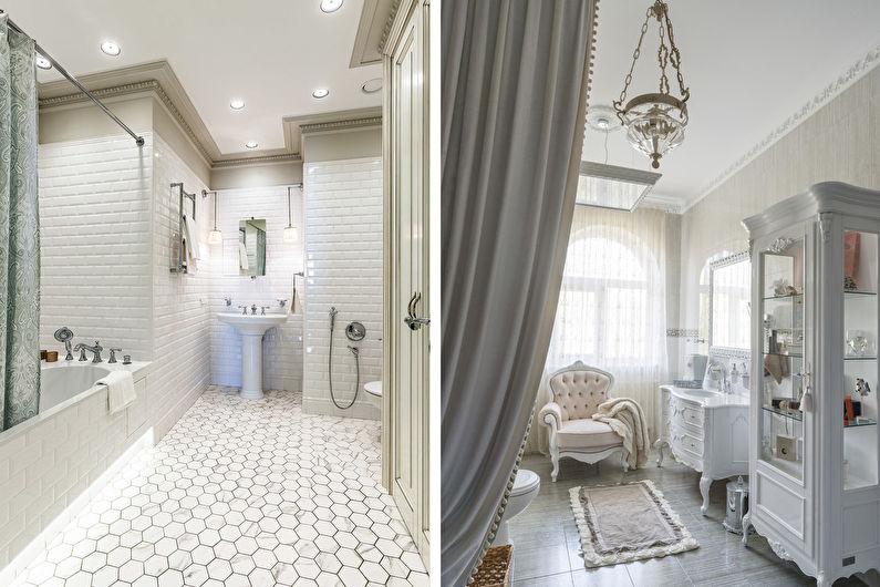 Plafond tendu dans la salle de bain - Style classique