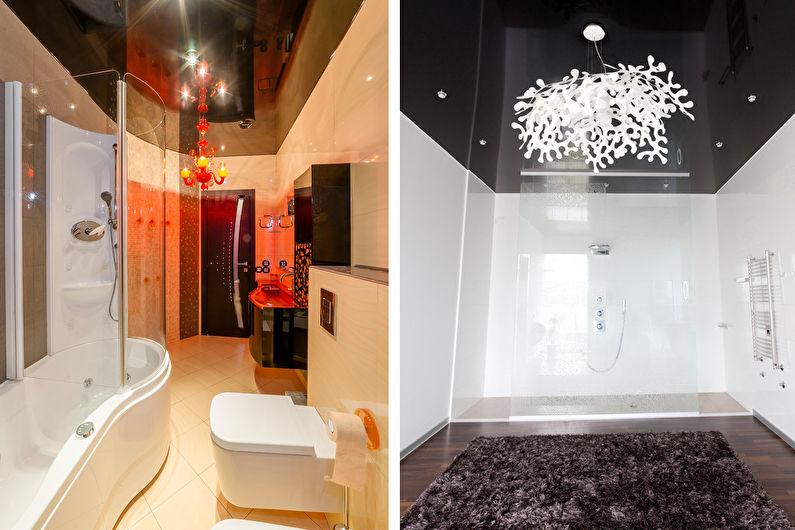 Plafond tendu dans la salle de bain - Style moderne