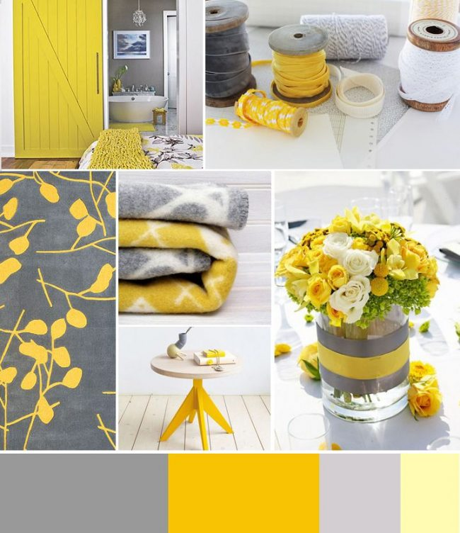 Gris et jaune - un tandem classique pour la décoration de la cuisine