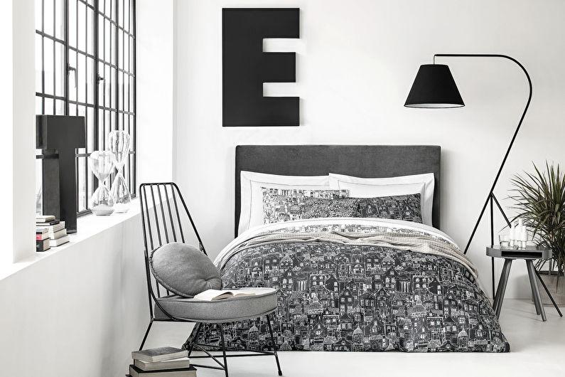 Chambre à coucher scandinave grise - Design d'intérieur