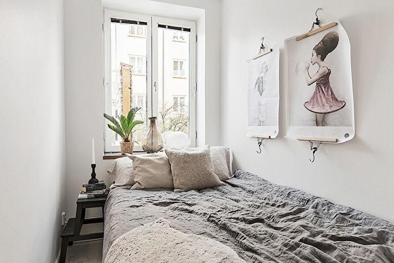 Chambre à coucher scandinave blanche - Design d'intérieur