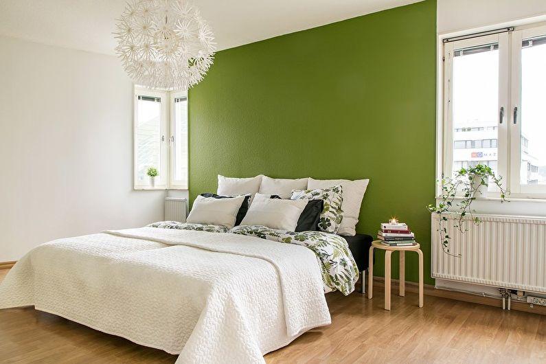 Chambre à coucher scandinave verte - Design d'intérieur