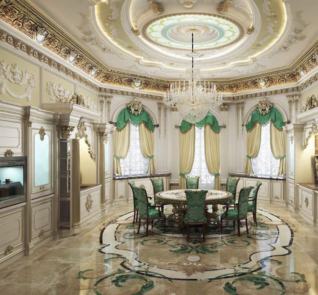 Les couleurs sombres et la dorure lourde du style baroque sont remplacées par des tons pastel clairs - bleu, rose, vert, avec un grand nombre de détails blancs