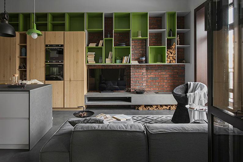 Salon de style loft marron - Design d'intérieur