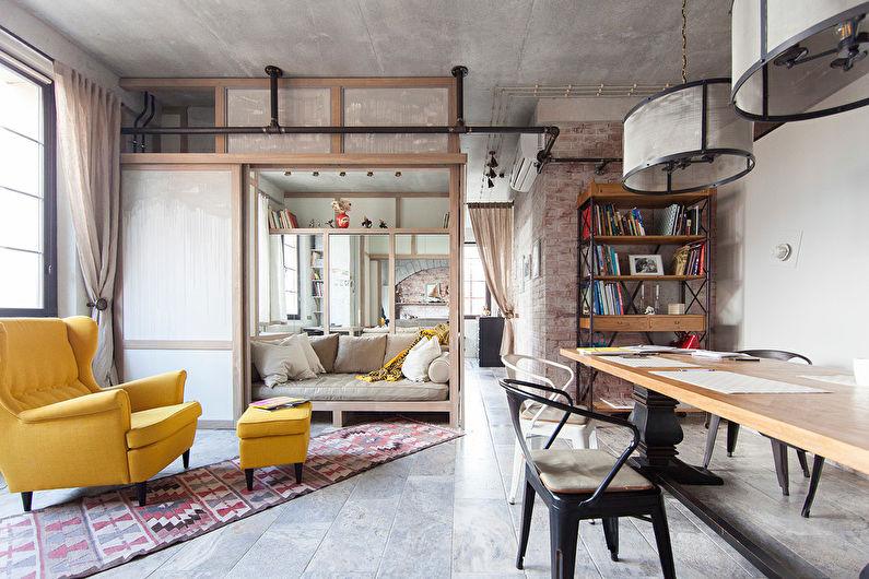 Salon de style loft jaune - Design d'intérieur