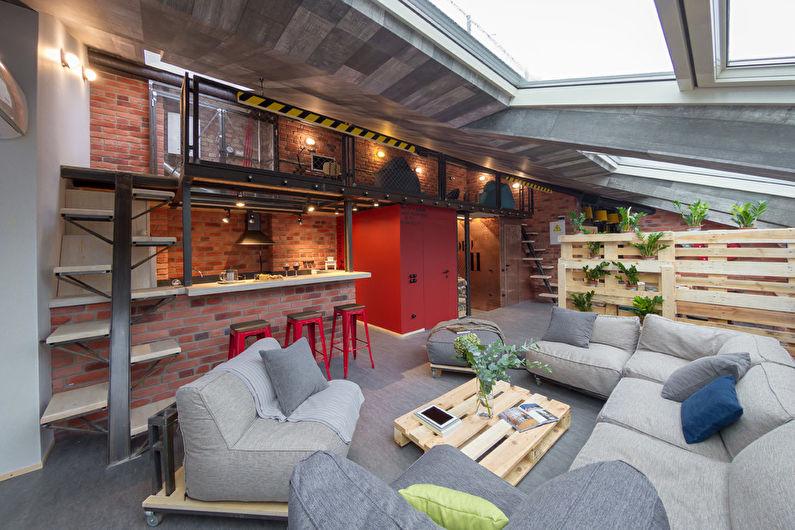 Design de salon de style loft - Décorations murales