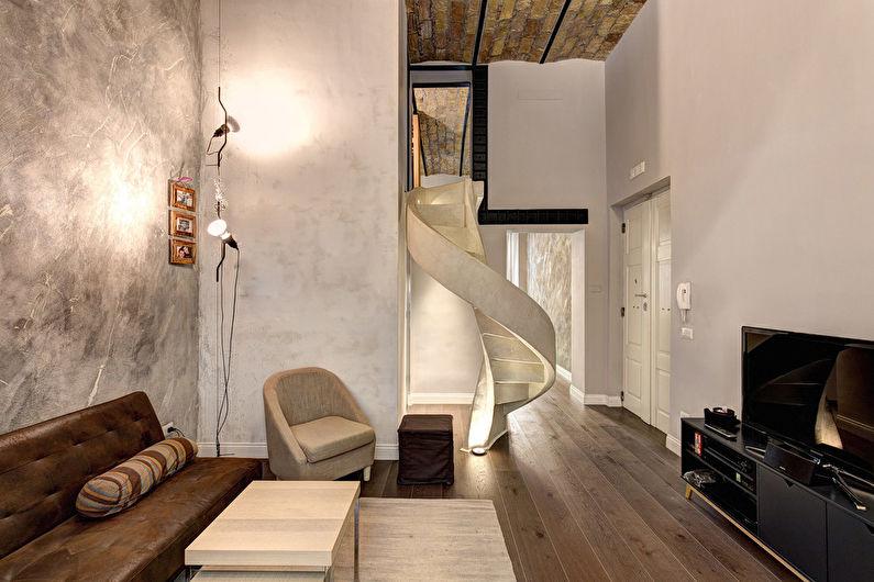 Salon de style loft beige - Design d'intérieur