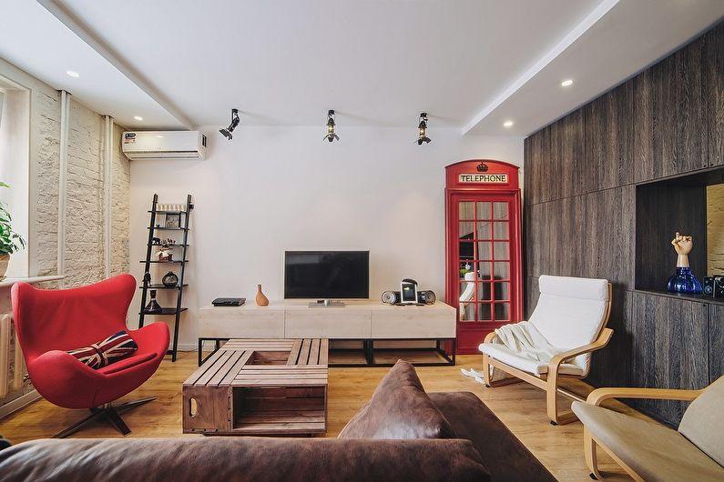Conception de salon de style loft - Fini au sol