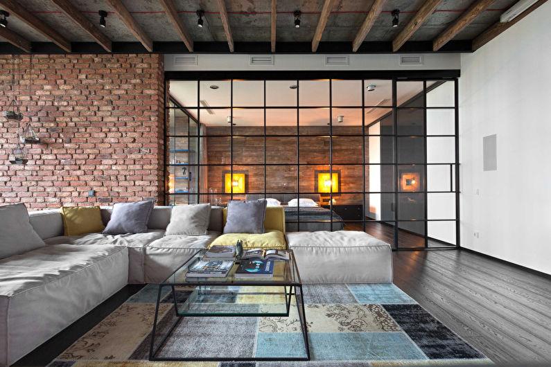 Conception de salon de style loft - Décoration de plafond