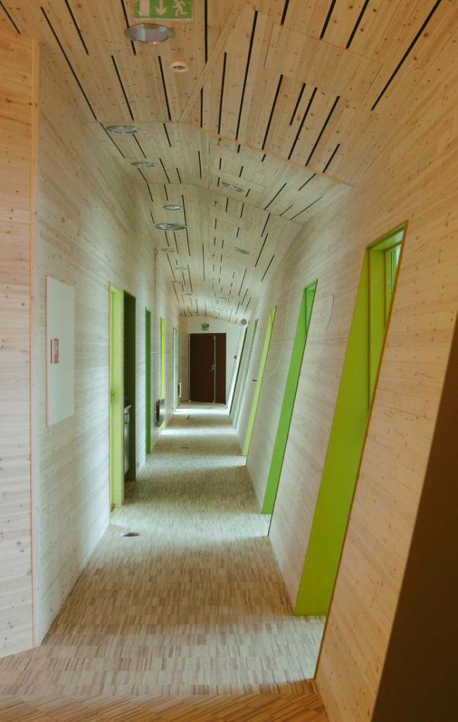 La couleur claire du bois sur les murs et le plafond semble assez neutre et peut servir d'arrière-plan pour presque toutes les couleurs.