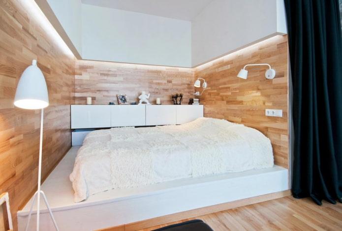lit sur un podium monolithique à l'intérieur