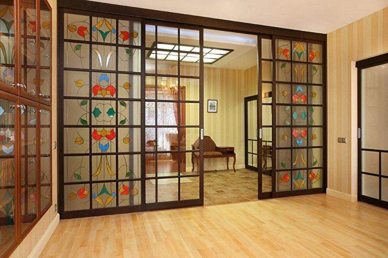 Types de matériaux pour portes coulissantes intérieures - Verre