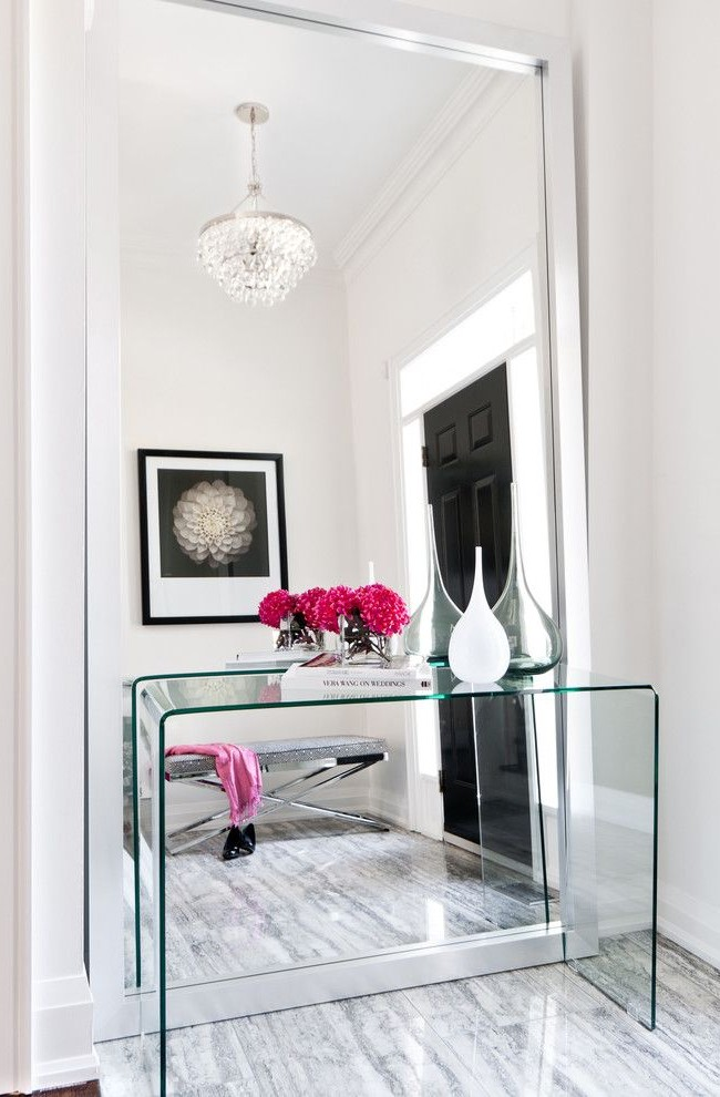 Miroir mural avec table en verre