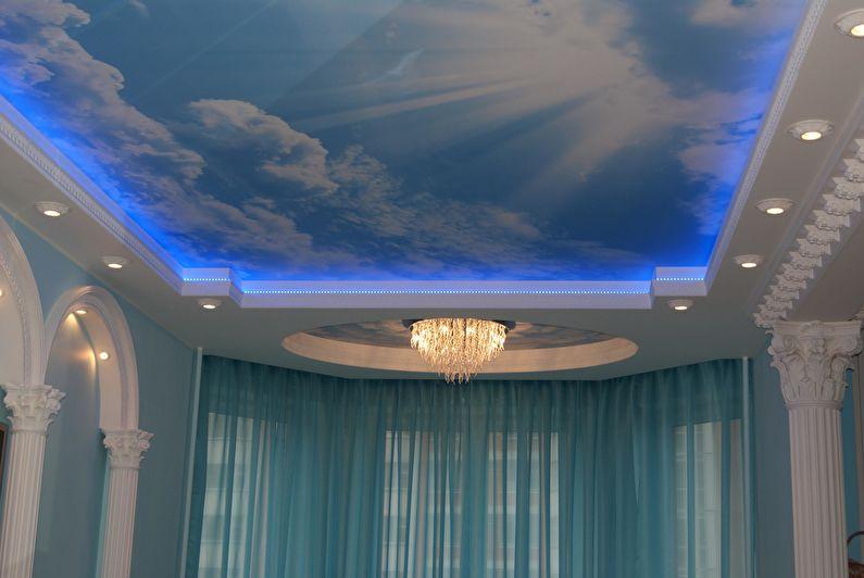 Plafond tendu à deux niveaux rétroéclairé - spots