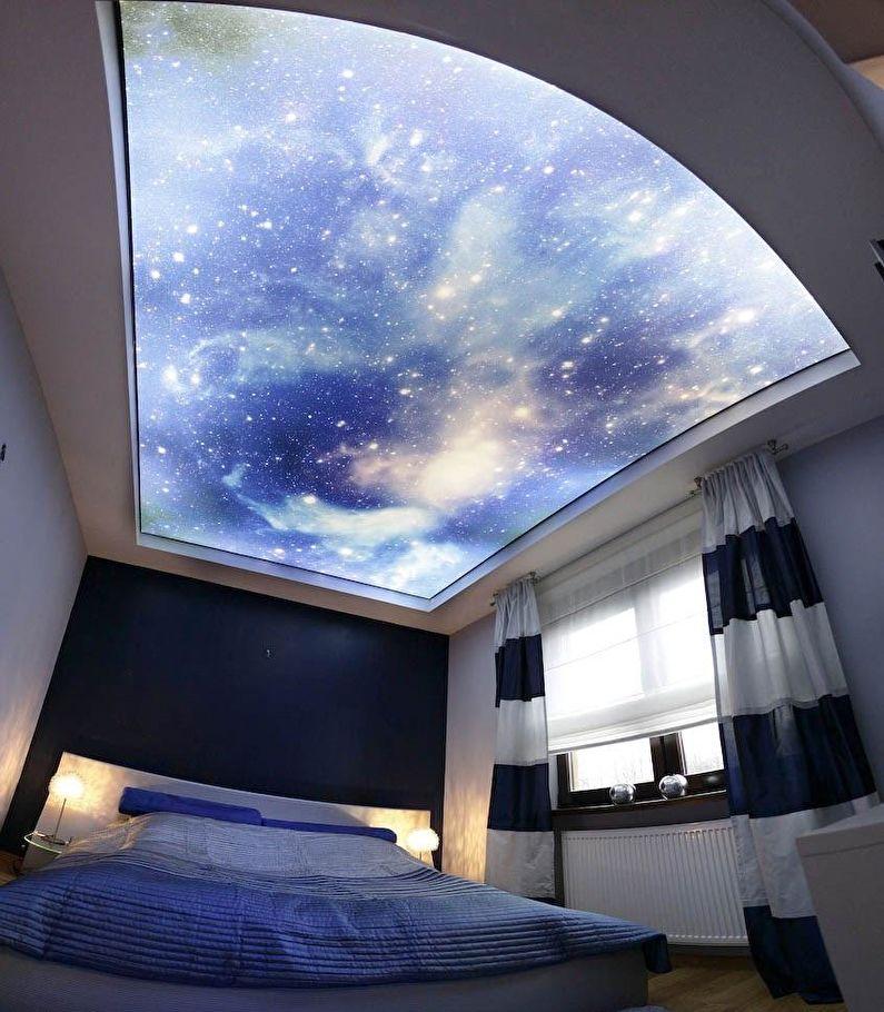 Plafond tendu à deux niveaux rétroéclairé - ciel étoilé