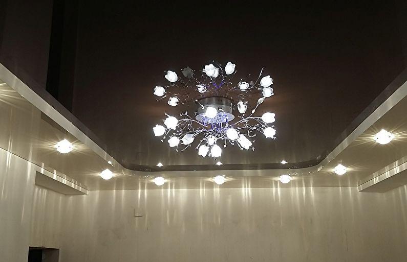Plafond tendu à deux niveaux rétroéclairé - lustre