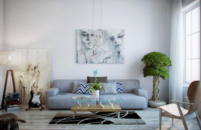 Image portrait décorant le mur du salon