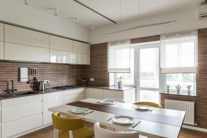 revêtement mural à lattes à l'intérieur d'une cuisine moderne