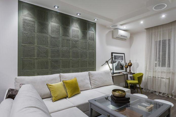panneaux en relief dans le salon