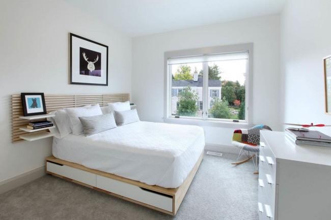 Chambre à coucher moderne avec podium fonctionnel