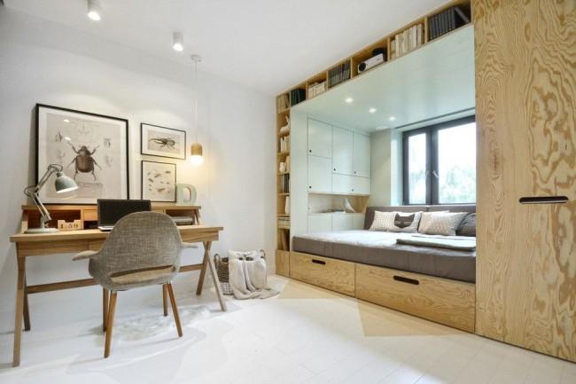 Casque intégré fonctionnel avec étagères, armoire et lit, adapté au repos diurne