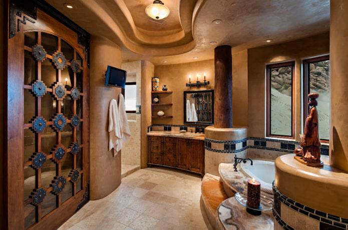 plâtre de plafond décoratif dans la salle de bain