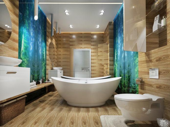 surface de plafond mate dans la salle de bain