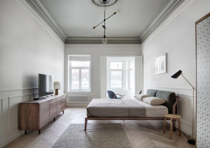 finition du plafond de la chambre dans un style nordique