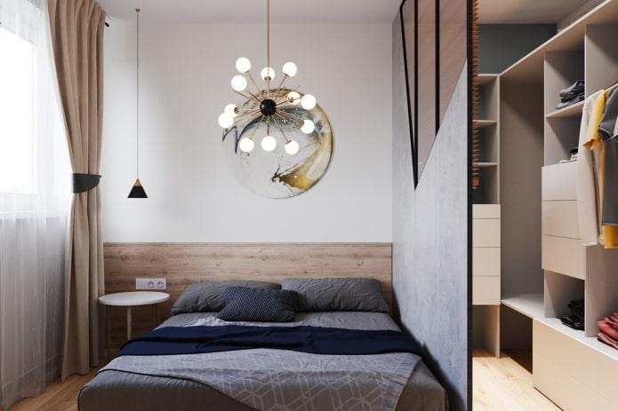 éclairage à l'intérieur de la chambre scandinave