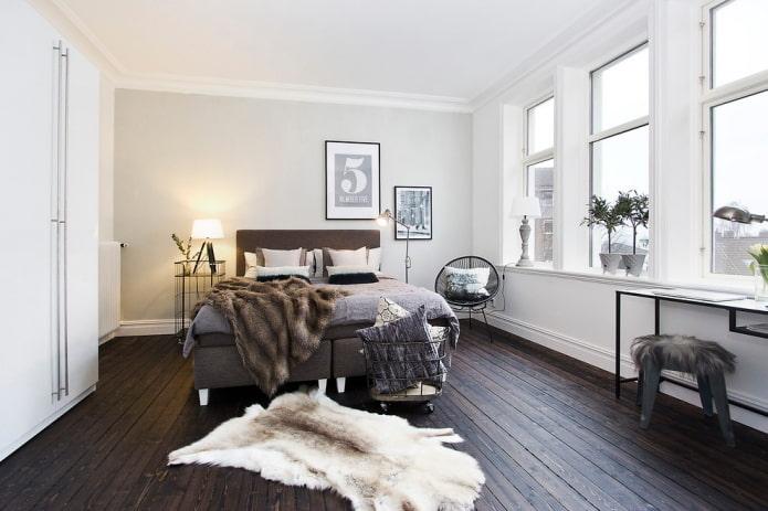 finition du sol dans la chambre dans un style nordique