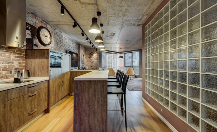 blocs de verre dans le style loft