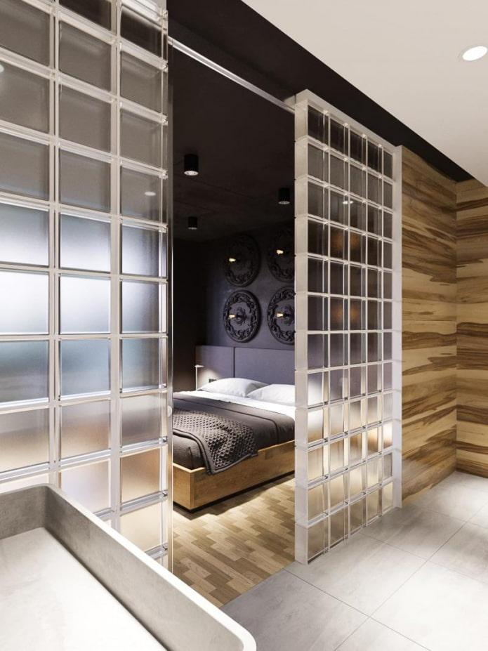 séparation par des blocs de verre de la chambre