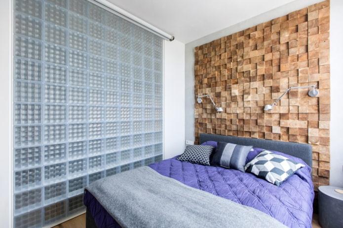 mur de briques de verre dans la chambre