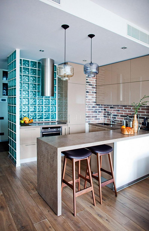 blocs de verre dans la cuisine